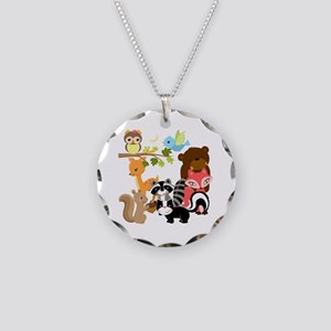 Forest Friends Necklace Circle Charm