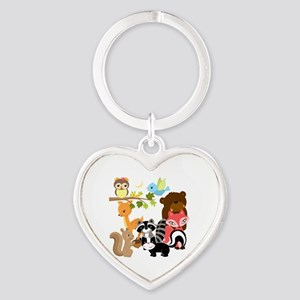 Forest Friends Heart Keychain