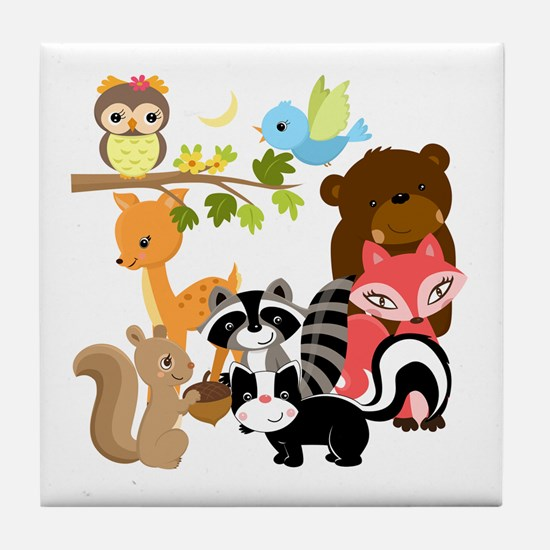 Forest Friends Tile Coaster