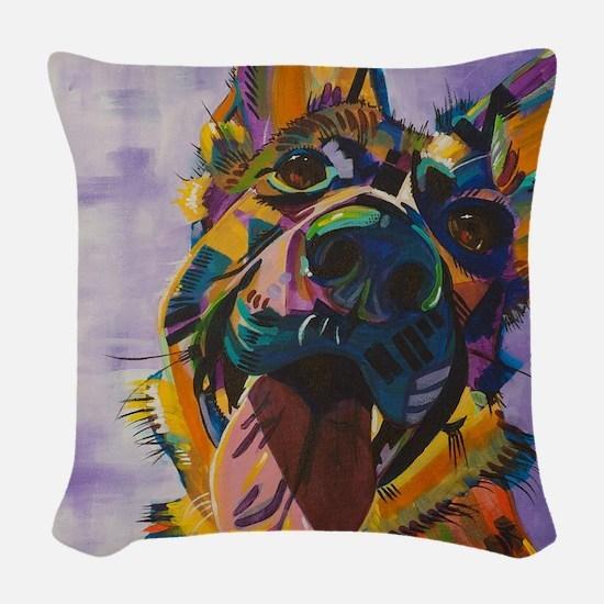 German Shepherd Pup Art Woven Throw Pillow