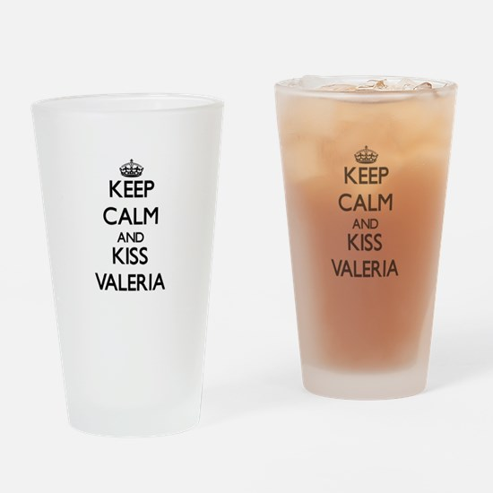 Keep Calm and kiss Valeria Drinking Glass