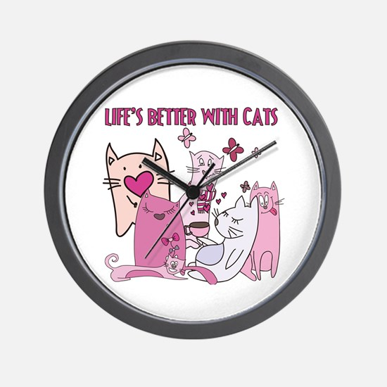 Life's Better With Cats Wall Clock