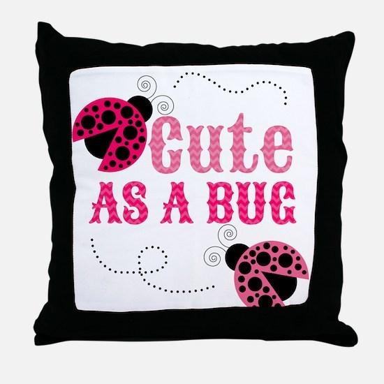 Cute as a bug ladybug girl design Throw Pillow