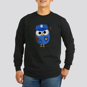 Owl Police Officer Long Sleeve Dark T-Shirt