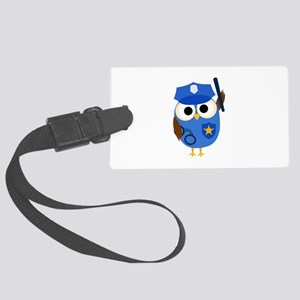 Owl Police Officer Large Luggage Tag