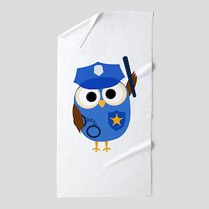 Owl Police Officer Beach Towel