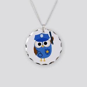 Owl Police Officer Necklace Circle Charm