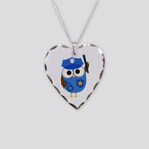 Owl Police Officer Necklace Heart Charm