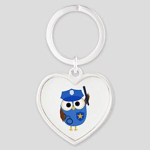 Owl Police Officer Heart Keychain