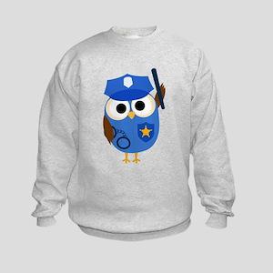 Owl Police Officer Kids Sweatshirt