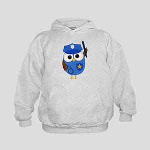 Owl Police Officer Kids Hoodie