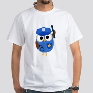 Owl Police Officer White T-Shirt