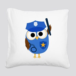 Owl Police Officer Square Canvas Pillow