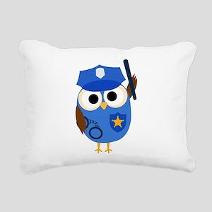Owl Police Officer Rectangular Canvas Pillow
