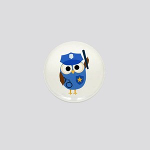Owl Police Officer Mini Button