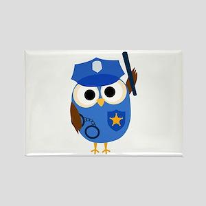 Owl Police Officer Rectangle Magnet