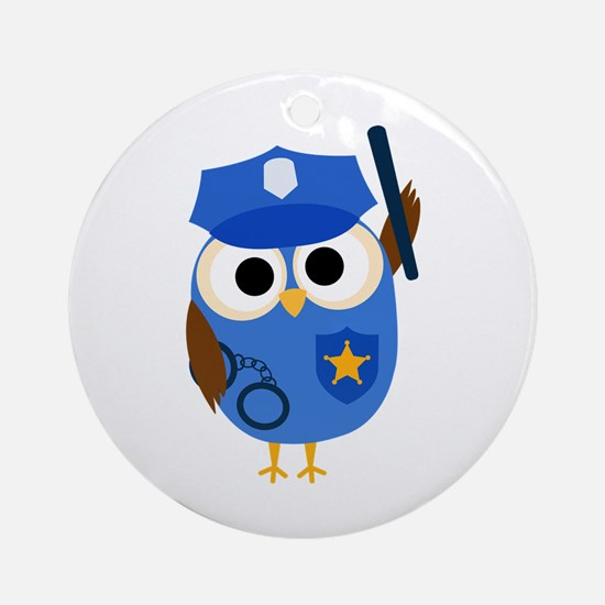 Owl Police Officer Ornament (Round)
