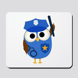 Owl Police Officer Mousepad