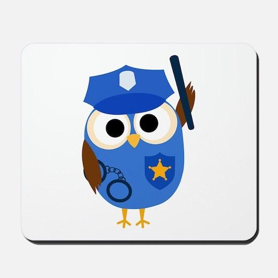 Owl Police Officer Mousepad