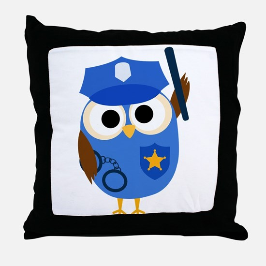 Owl Police Officer Throw Pillow