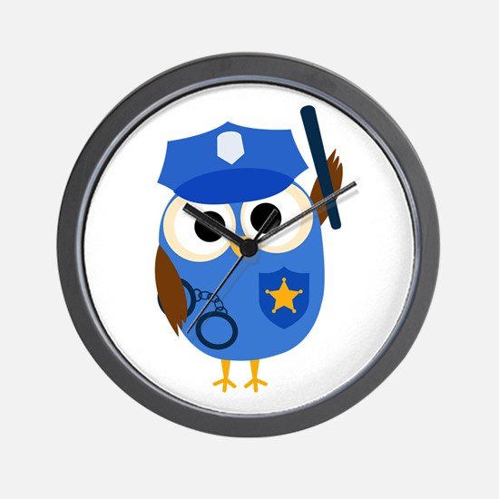 Owl Police Officer Wall Clock