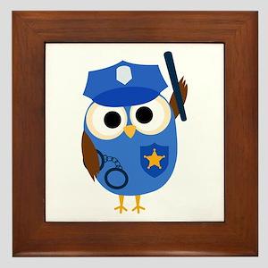 Owl Police Officer Framed Tile