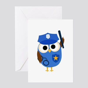 Owl Police Officer Greeting Card