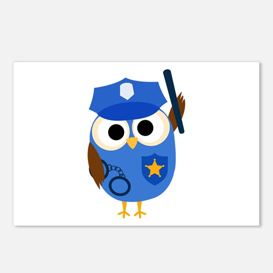 Owl Police Officer Postcards (Package of 8)
