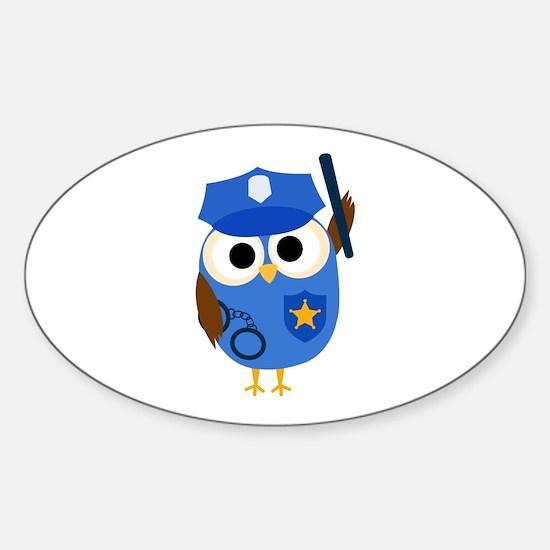 Owl Police Officer Sticker (Oval)