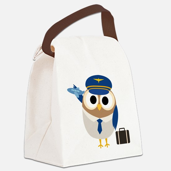 Owl Airplane Pilot Canvas Lunch Bag