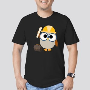 Construction Worker Owl Men's Fitted T-Shirt (Dark