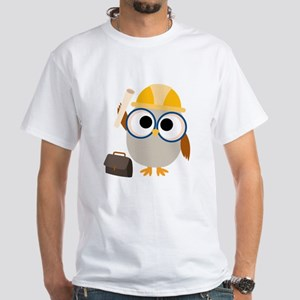 Construction Worker Owl White T-Shirt