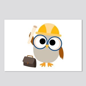 Construction Worker Owl Postcards (Package of 8)