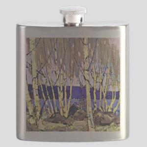 Evening Canoe Lake, Tom Thomson painting Flask