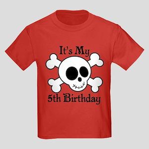 5th Birthday Pirate Skull Kids Dark T-Shirt