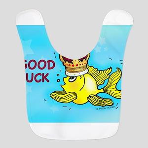 GOOD LUCK funny cute goldfish wearing a crown Bib