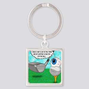 Keep Your Eye on the Ball Square Keychain