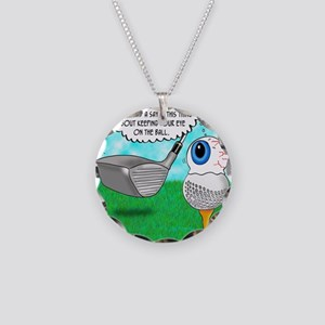 Keep Your Eye on the Ball Necklace Circle Charm