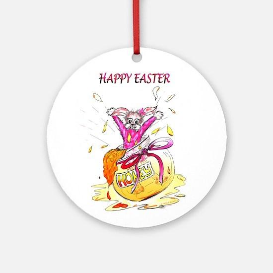 Honey Bunny Happy Easter Ornament (Round)