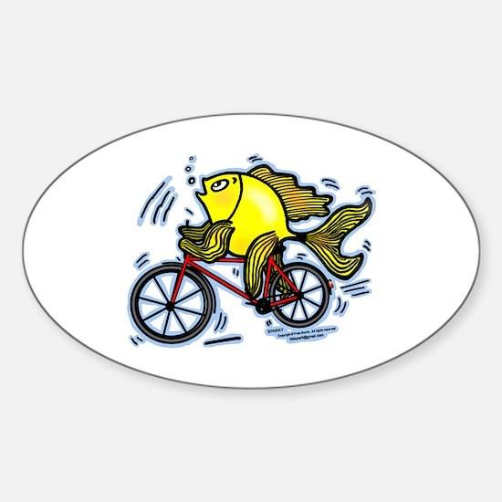Fish On Bicycle Bike Funny Cartoon Sticker (oval)