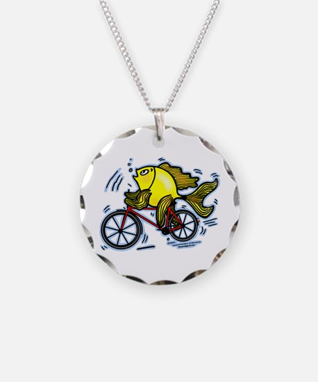 Fish On Bicycle Bike Cartoon Necklace