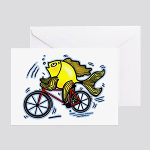Fish On Bicycle Bike Funny Cartoon Greeting Cards