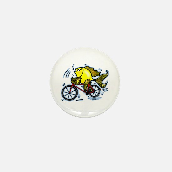 Fish On Bicycle Bike Funny Cartoon Mini Button