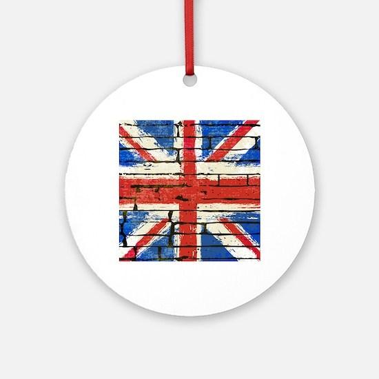 Grunge British Flag Round Ornament