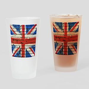 Grunge British Flag Drinking Glass