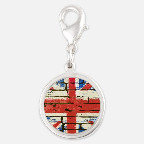 Grunge British Flag Silver Round Charm