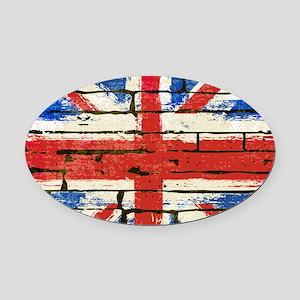 Grunge British Flag Oval Car Magnet