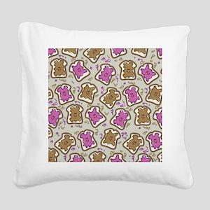 PBJ Sandwich Square Canvas Pillow