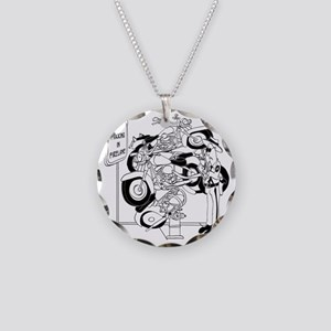 Dont Park in Fire Lane Necklace Circle Charm