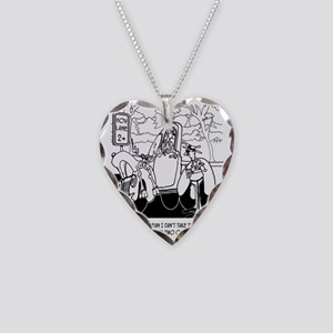 A Man  A Deer In An HOV Lane Necklace Heart Charm